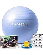arteesol Träningsboll, gymboll anti-brist yogaboll, 45 cm/55 cm/65 cm/75 cm extra tjock schweizisk boll med pump, för fitness födelse Physio balans pilates