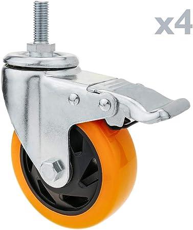Image of PrimeMatik - Rueda pivotante Industrial de Poliuretano con Freno 100 mm M12 4-Pack