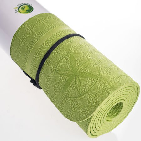 **SALE**Thick Premium Ylayaa Yoga Mat with Guided Alignment Lines & Strap, Fitness Exercise Mat is Lightweight,100% Eco-Friendly, TPE SGS Certified, Super Traction, 4 mm, 24x72 Inch (Green) - Super Traction