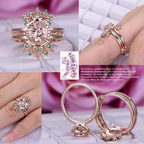Round Morganite Engagement Ring Set Alexandrite Tiara Ring Guard 14K Rose Gold 7mm ()