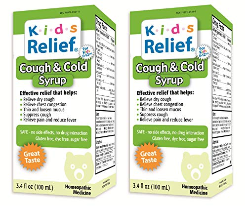 Syrup Relief Cold - Kids Relief Cough & Cold Syrup, 3.4-Ounce Bottle (Pack of 2)