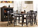 Ohana 7 Piece Counter Height Table Set by Home Elegance in 2 Tone Antique Black & Warm Cherry For Sale