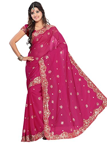 Indian Trendy Deep Pink NW Bollywood Sequin Embroidery Sari Saree Costume Boho danse du ventre Indian Party Wear ()