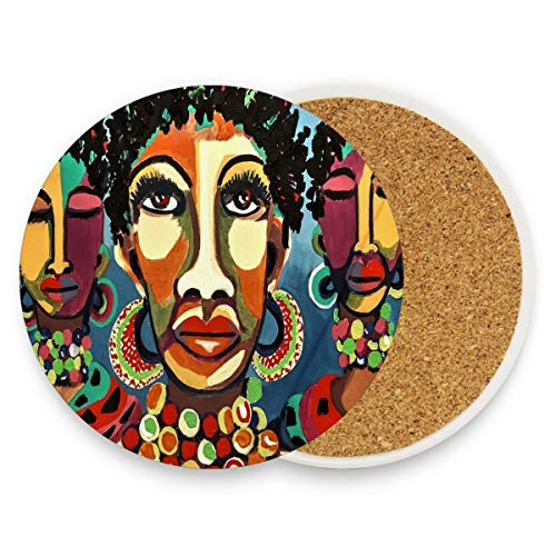 African Art Coasters, Protection for Granite, Glass, Soapstone, Sandstone, Marble, Stone Table - Perfect Drink Coasters,Round Cup Mat Pad for Home, Kitchen or Bar Set of 4