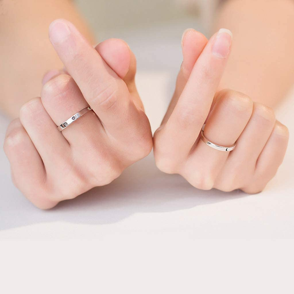 S-TROUBLE 2Pcs Sterling Silver Sun Moon Lover Couple Rings Set Promise Wedding Bands for Him and Her Valentines Day Jewelry Gift