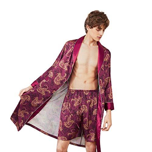 Men's Simulation Silk Sleepwear Robe Print Pajama Lingerie Robe Bathrobe Robe Shorts Set Red