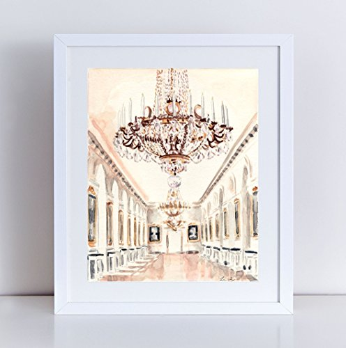 - Chandelier at Petit Trianon Versailles Print Watercolor Painting Paris Travel Photography Palace Architecture Ornate France Paris Wall Art Wall Decor Paris Bridal Shower Paris Baby Shower