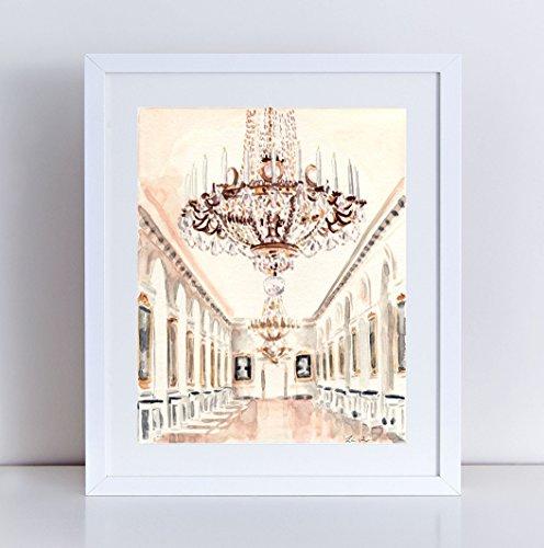 (Chandelier at Petit Trianon Versailles Print Watercolor Painting Paris Travel Photography Palace Architecture Ornate France Paris Wall Art Wall Decor Paris Bridal Shower Paris Baby)