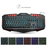 MEMTEQ Adjustable 7 Color Backlit Pro USB Gaming Keyboard, Wired Multimedia Breathing Light Gamer Keyboard, Waterproof Oversized Ergonomic Design, 112 Keys