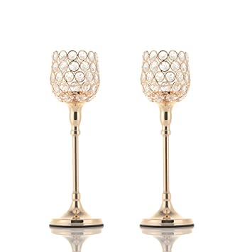 Vincigant Candelabros De Cristal Dorado Ideal Para Bodasestreno De Una Casa Hogar Día De La Madredecoración De Pascua Juego De 2