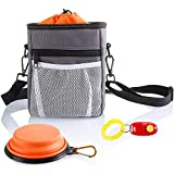 Dog Treat Training Pouch Tote Bag with Clicker Collapsible Bowl & Built-in Dogs Poop Bags Dispenser 3 Ways To Wear With Extra Long Waist Belt Shoulder Strap Easily Carries Pet Toys Kibble Treats Grey