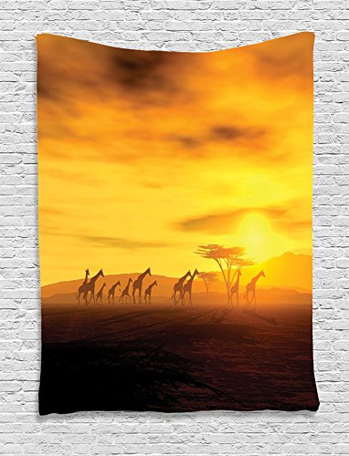 Ambesonne Safari Decor Collection, Group of Giraffe Sunset Sunlights Coloring Clouds Sky and Earth Horizon African Wildlife View, Bedroom Living Room Dorm Wall Hanging Tapestry, Orange