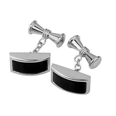 1Par Gemelos Mancuernillas de Camisa Traje Joyería Regalo para Hombre Color Plata Negro: Amazon.es: Joyería