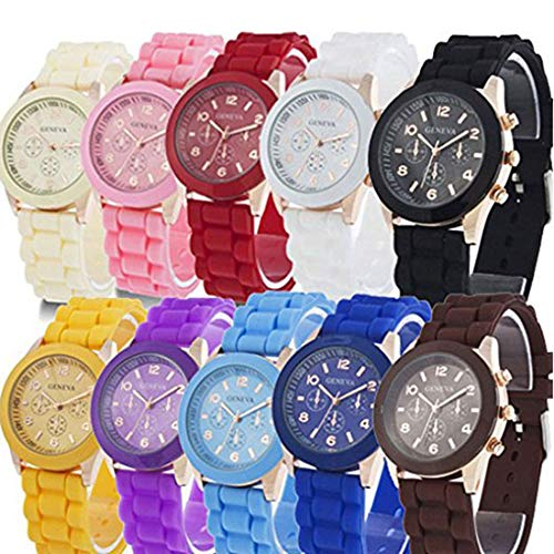 RBuy 10 Assorted Analog Quartz Jelly Watches for Women Men Kids Wholesale -