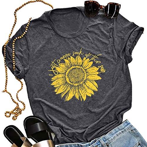 - Pukemark Women's T-Shirt Cute Graphic Letter Print Summer Casual Cross Sunflower Short Sleeve Tees Tops Dark Grey