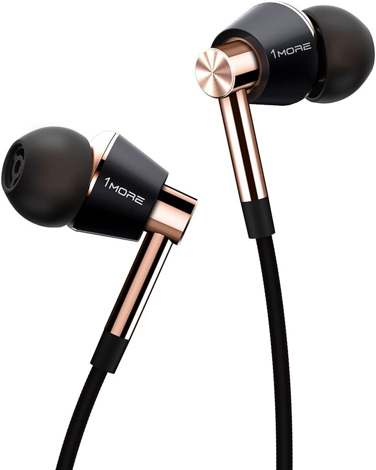 1MORE Triple Driver In-Ear Earphones Hi-Res Headphones with High Resolution, Bass Driven Sound, MEMS Mic, In-Line Remote, High Fidelity for Smartphones/PC/Tablet - Gold