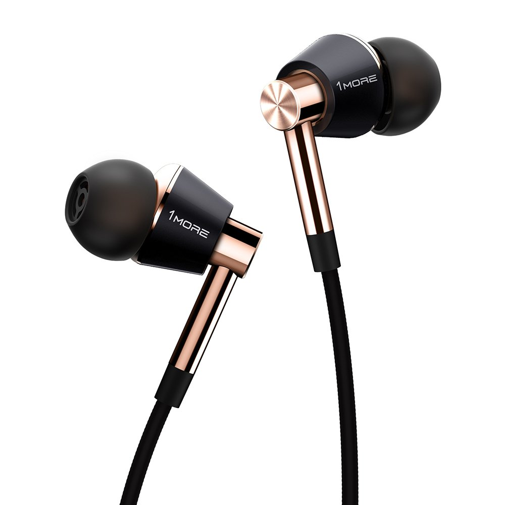 1MORE Triple Driver In-Ear Earphones Hi-Res Headphones with High Resolution, Bass Driven Sound, MEMS Mic, In-Line Remote, High Fidelity for Smartphones/PC/Tablet - Gold by 1MORE