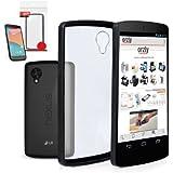 Orzly® - LG NEXUS 5 - Fusion Gel Hard Case ( COPERTINA / CUSTODIA ) NERO Phone Cover Skin per Google NEXUS 5 SmartPhone ( 2013 LG MODEL ) Incluso BONUS: 2x ORZLY Pellicole ( protezioni dello schermo )