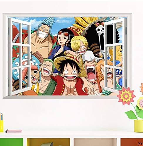 One Piece Amine Comic 3D Ventana Luffy Etiqueta de La Pared Poster ...