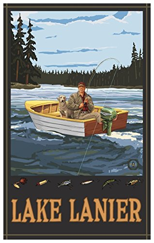 Lake Lanier Georgia Fisherman in Boat Forest Travel Art Print Poster by Paul A. Lanquist (12