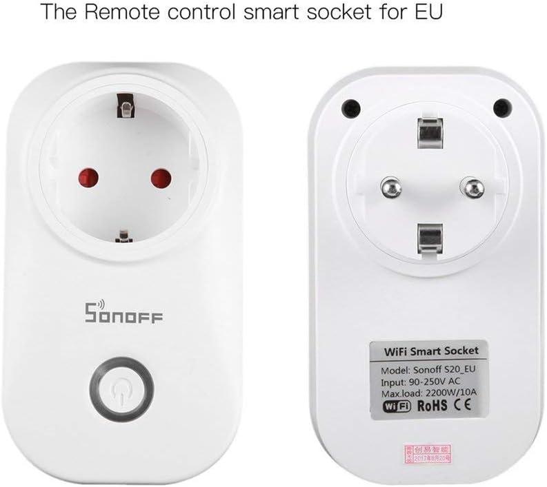 Leoboone Sonoff S20 Smart Home WiFi T/él/écommande sans Fil Prise De Puissance Prise Via App T/él/éphone M/énage Prise De Commutation Minuterie