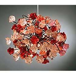 Romantic - atmosphere lighting - pink and red roses pendant ceiling light fixture for living room, dining room and bedroom lighting.