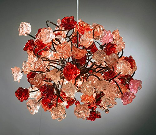 Romantic – atmosphere lighting – pink and red roses pendant ceiling light fixture for living room, dining room and bedroom lighting. For Sale