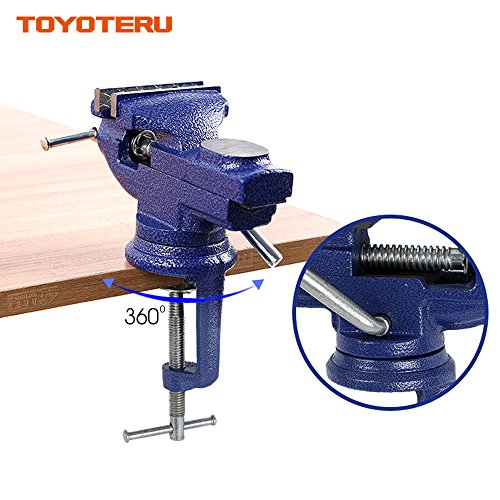 TOYOTERU 3-Inch (75mm) opening 360 degrees universal bench vise table vise home vise Cast Iron with Anvil Worktable by TOYOTERU (Image #2)