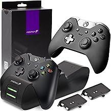 [Patrocinado] Fosmon - Cargador controlador para Xbox One/One X/One S, doble ranura, estación de carga y acoplamiento de alta velocidad con 2 paquetes de baterías recargables de 1000 mAh (estándar y compatible con Elite)