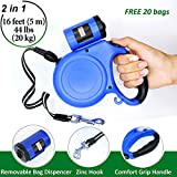 Retractable Dog Leash - Pet Dog Leash Retractable - Long Leash 16 Ft for Dogs Small Medium Breed and Puppy 44 lbs - Best Cord Dog Training Walking Automatic Leash Heavy Duty with Poop Bag Dispenser