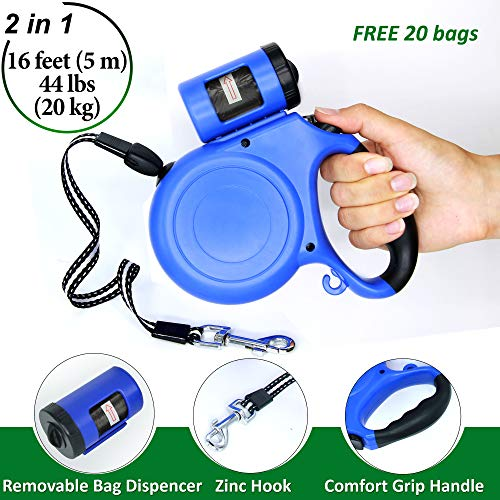 Retractable Long Comfort 1 Cord (Pet Leash Retractable with Poop Bag Dispenser - 16 Feet Long Cord Dog Leash for Pets up to 44 Pounds - for Dogs and Puppies of Small and Medium Breeds - Blue Automatic Puppy and Dog Leash Retractable)