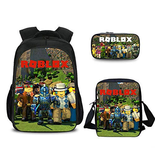 Roblox Backpack with Pencil Case & Satchel, Game Fans Gift, Student Bookbag Laptop Backpack Travel Computer Bag for Teens (Color 4)