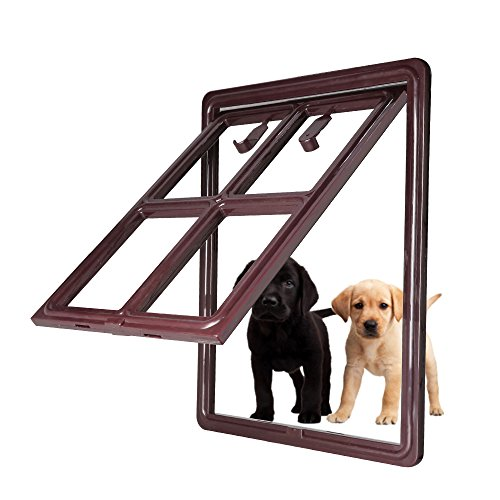 CEESC Dog Door for Sliding Screen Door, 3rd Upgraded Version Automatic Lock Pet Door for Dogs Puppies Cats, 3 Colors 5 Options (Large Coffee)