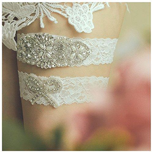 shinyis Ivory Lace with Rhinestone Wedding Bridal Garter Set for Bride Dress