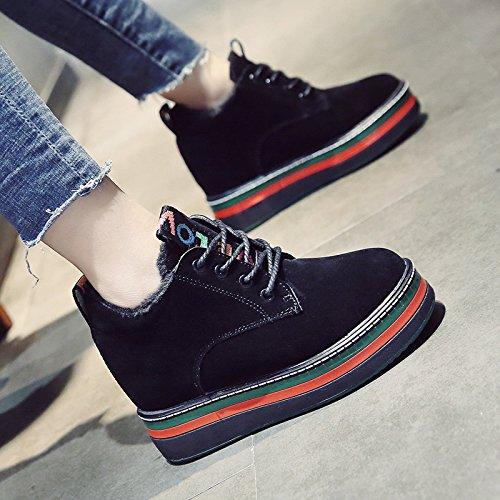 KPHY-Herbst und Winter Neue koreanische Version von Mode zu erhöhen Frauen Schuhe Warm Plus samt Biskuitteig Dicke einzelne Schuhe Freizeitschuhe weiblichen Baumwolle 36 Schwarz