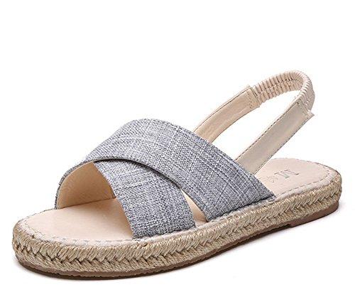 pie del de estudiante las señoras paja Zapatos del 1 sandalias plano del dedo salvajes de KUKI THq8P6wq