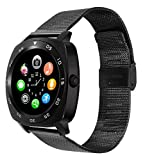 All-in-1 Smart Watch Round IPS Screen Bluetooth 4.0 call phone smartwatches with sim card removable Metar band Camera Pedometer Activity Tracker For iphone IOS Samsung LG Android Phones man (BLACK)