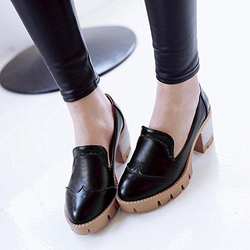 Latasa Damesmode Mid Dikke Hak Slip Op Comfortabele Instappers Schoenen Zwart