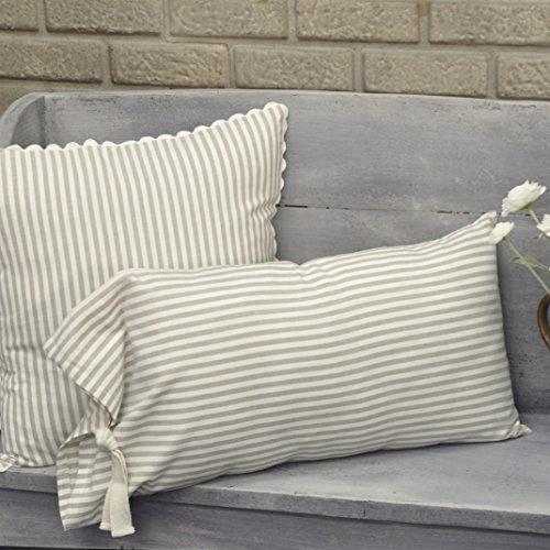 Piper Classics Farmhouse Ticking Stripe Taupe Fabric Throw Pillow Cover, 12