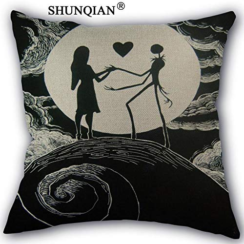 CHITOP Nightmare Before Christmas | Nightmare Before Christmas Pillow case Personality Custom Print Decorative Cotton Linen Pillow Cover 45x45cm one Side a1017 -