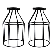 "Motent 2pcs Vintage Industrial Metal Bird Cage Lampshade Chandelier Ceiling Pendant 4.7"" Dia Wall Light Fixture Set for Kitchen Loft Hallway"