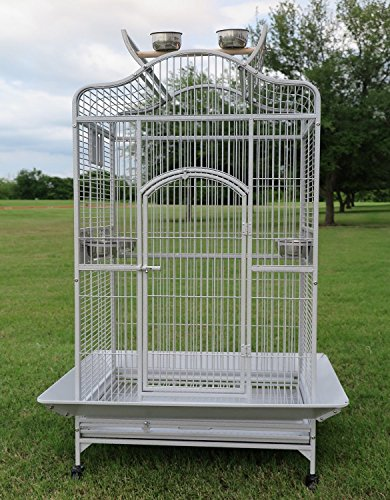 Large Parrot Cage - New Large Wrought Iron Open/Close Play Top Bird Parrot Cage, Include Metal Seed Guard Solid Metal Feeder Nest Doors Overall Dimensions: 35.25