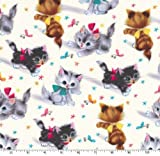 Vintage Kitties Cat Fabric Two Yards (1.8m) CX3696-CREM-D