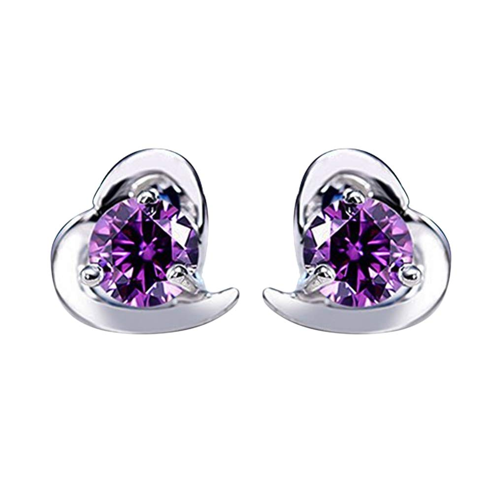 Alvade Love Purple zircon Earrings, Elegant Silver-Plated Stud Earrings Girl Jewelry by Alvade (Image #1)
