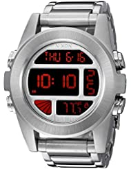 Nixon Mens A3601263-00 Unit SS Digital Display Silver Watch