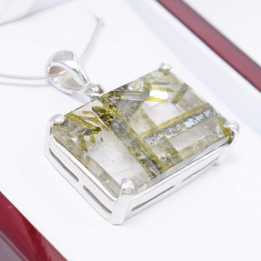 Modern Jewelry, Metaphysical RARE Epidote included Quartz Necklace Healing stones and crystals Epidote jewelry crystal necklace