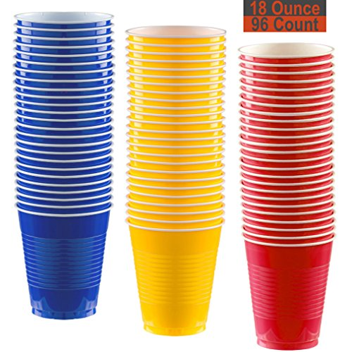 18 oz Party Cups, 96 Count - Royal Blue, Sunshine Yellow, Red - 32 Each Color
