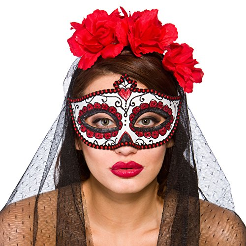 Wicked Day The Dead Adult Halloween Masquerade Glitter Eyemask Fancy Dress Accessory -