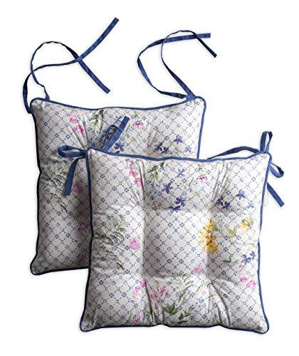 Maison d' Hermine Faïence Set of 2 Chair Pads 16 Inch by 16 Inch