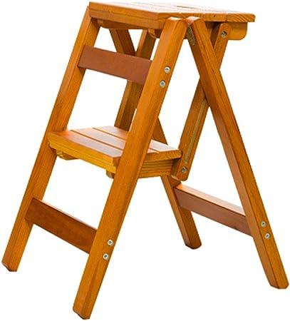 Plegables pasos de escalera Taburete Escalera Silla plegable para escaleras de madera, escalera de estantería de 2 pasos, carga máxima 150 kg, color madera: Amazon.es: Hogar
